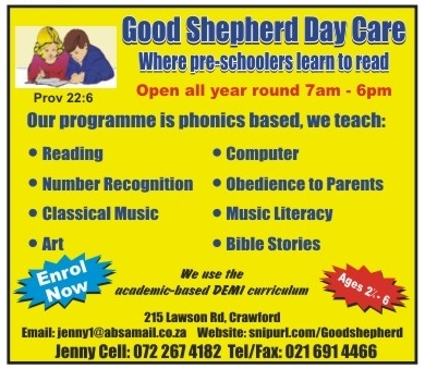 Good Shepherd Christian Preschool, 215 Lawson Road, Crawford, Cape Town, Western Cape , 7764, South Africa